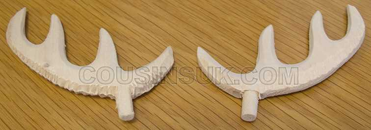 Unfinished, 80mm Wooden Antlers