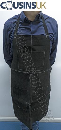Suede Leather Apron (Cousins), 860 x 600mm, Black