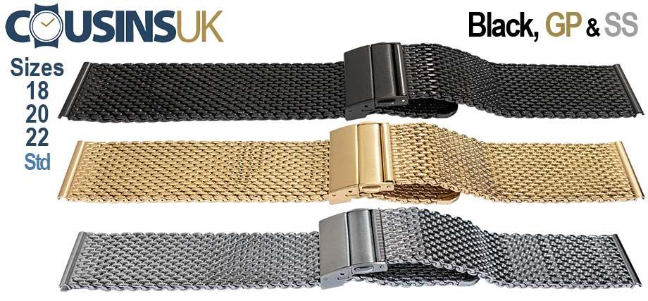 Regular Mesh with Deployment Clasp/Buckle