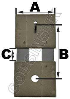 E021-02483, (3) B = 15.0mm (A = 12.2mm & C = 4.0mm)