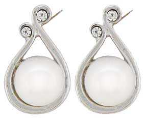Ø6.65mm Cultured Pearl with CZ Earrings