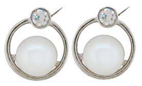 Ø6.10mm Cultured Pearl with CZ Earrings