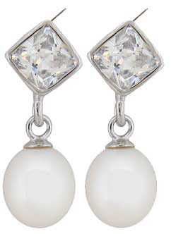 Ø7.50mm Cultured Pearl with CZ Earrings