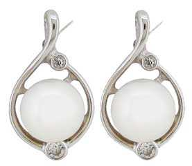 Ø7.00mm Cultured Pearl with CZ Earrings