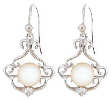Ø7.40mm Cultured Pearl with CZ Earrings