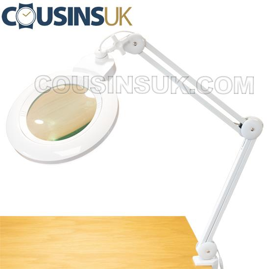Bench Light, Cousins LED with Round Magnifying Lens