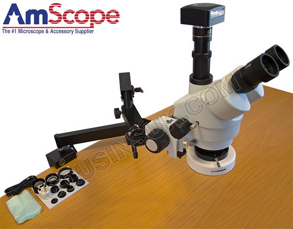 Amscope Microscope, with Articulating Arm & Camera