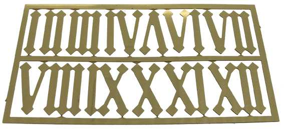 Metal (Brass) Brass Colour, Roman Numbers, Gothic