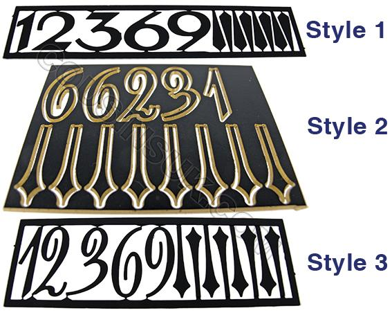 Metal (Brass) Black, Arabic Numbers Batons
