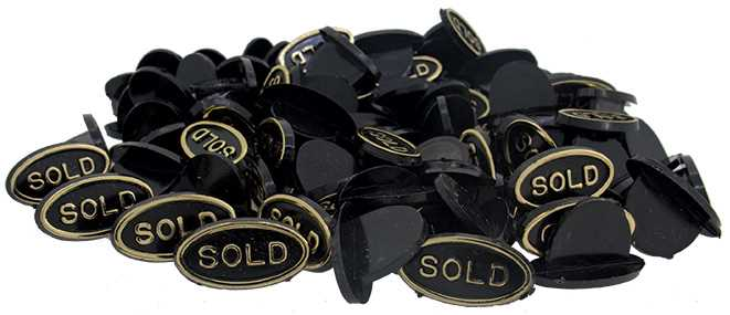 """""""SOLD"""" Signs, Black"""