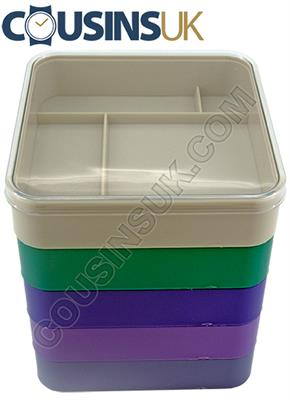 "Set of 5 ""Square"" Trays & Lid"