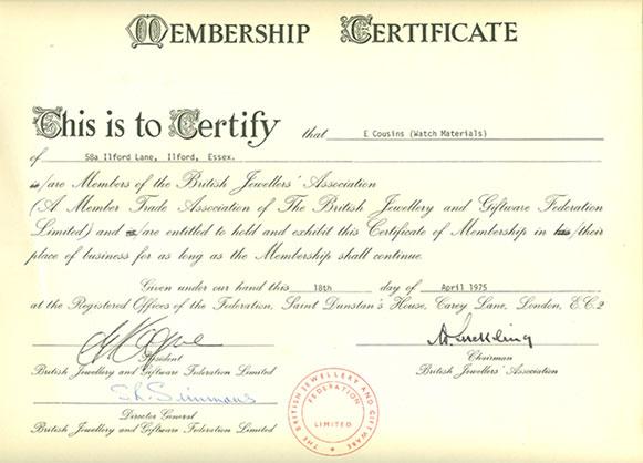 Cousins BJA Membership Certificate