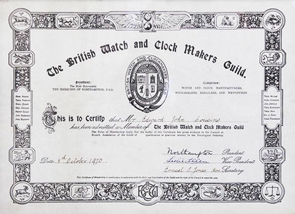 BWCMG membership certificate