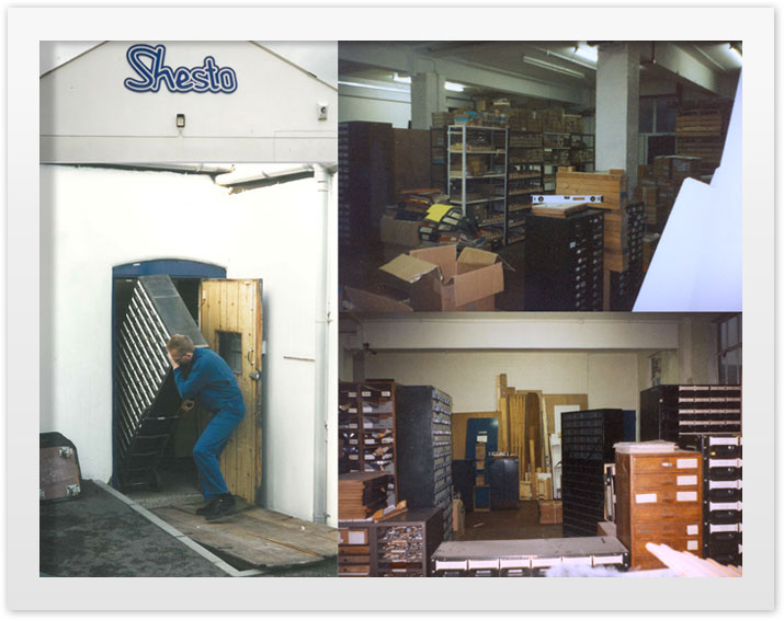 Shestopal's parts cabinets arrive at Romford ready for cataloguing and sorting