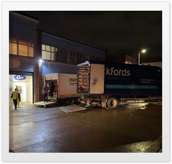 The last lorries leave Romford